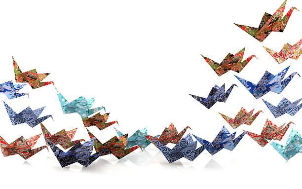 Origami paper birds stock photo