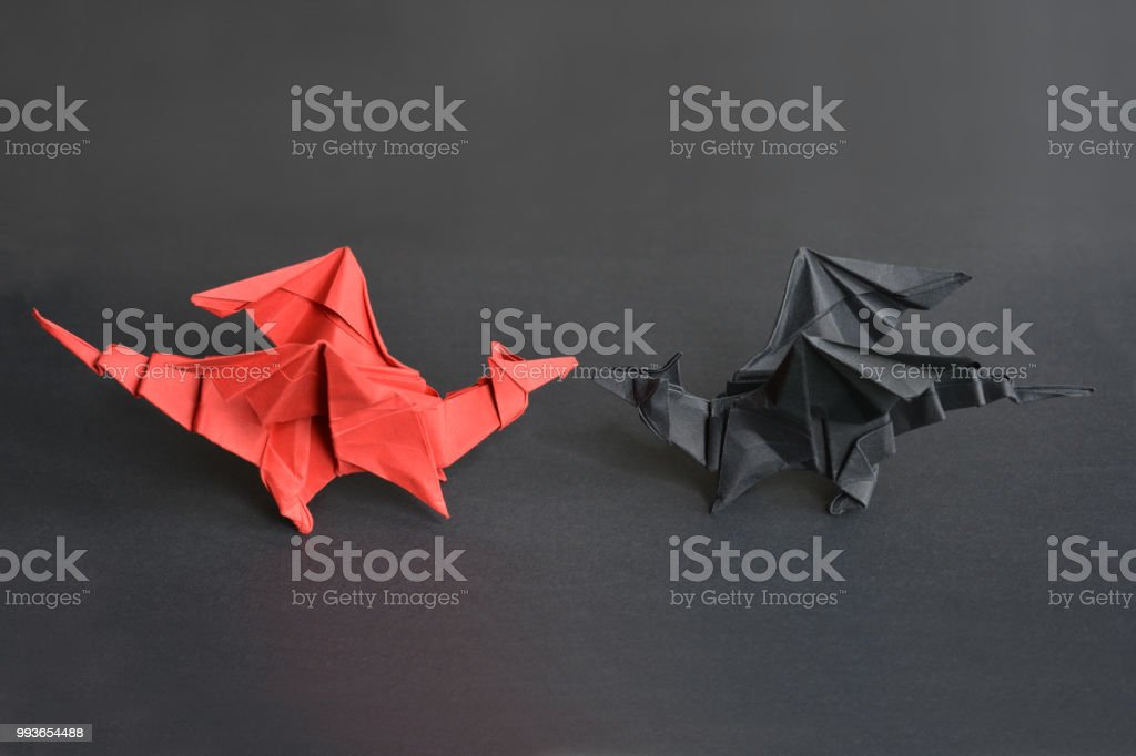 Origami paper dragons stock photo