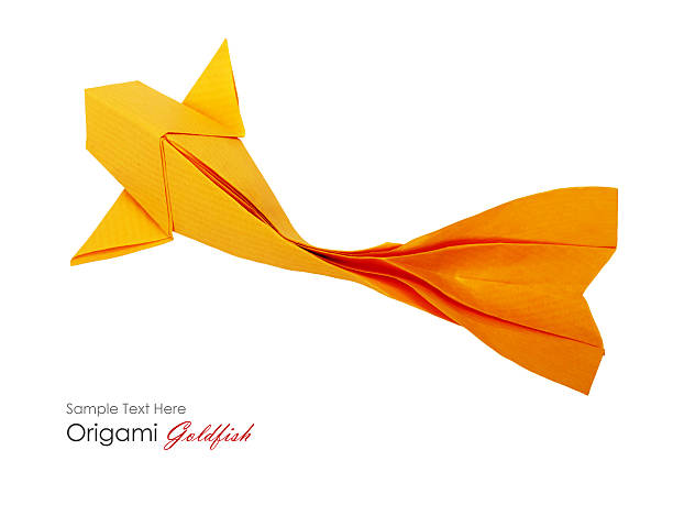 Origami paper fishs decor band stock photo