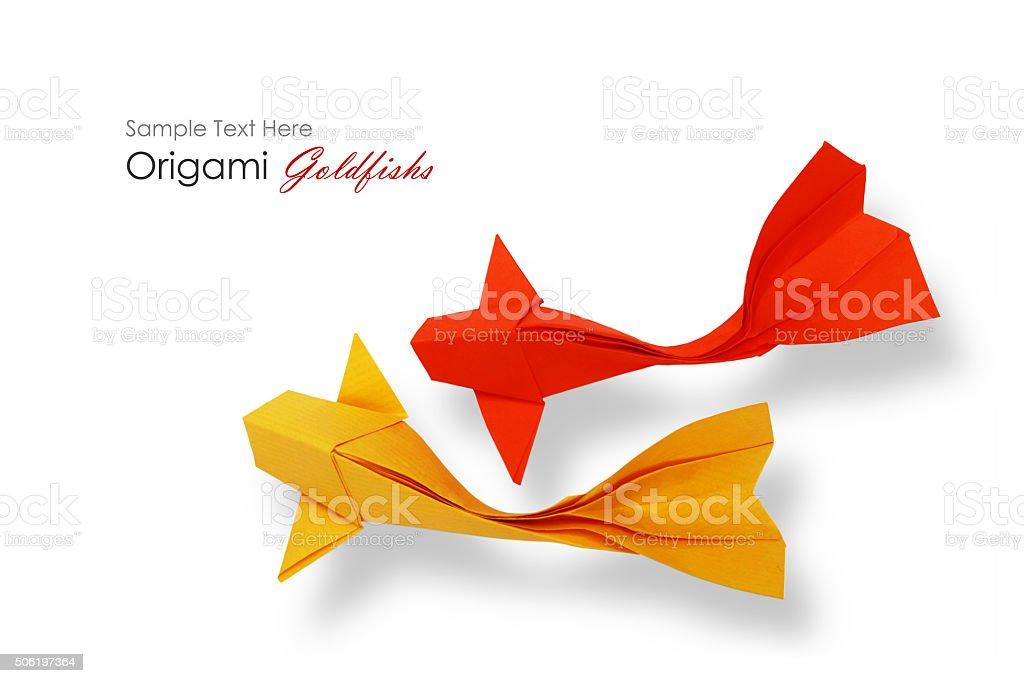 Origami paper fishs decor band stock photo