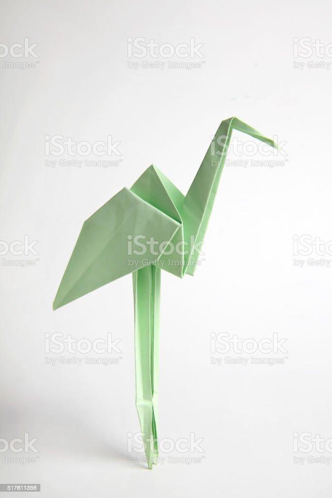Origami Paper flamingo stock photo