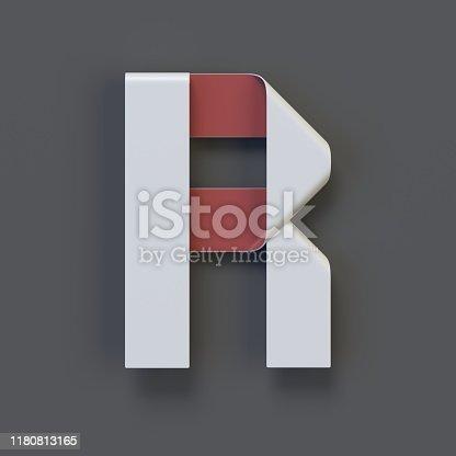 583978558istockphoto Origami paper font, folded ribbon font letter R 1180813165