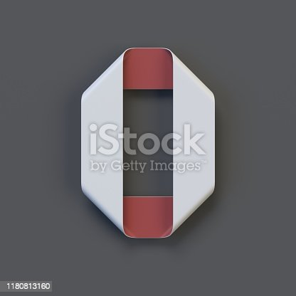845307368 istock photo Origami paper font, folded ribbon font number 0 1180813160