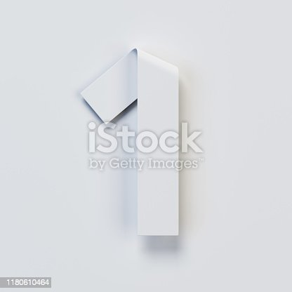 583977832 istock photo Origami paper font, folded ribbon font, number 1 1180610464