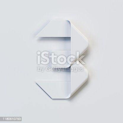 845307450 istock photo Origami paper font, folded ribbon font, number 3 1180610753