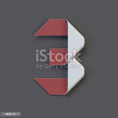 845307450 istock photo Origami paper font, folded ribbon font number 3 1180813171
