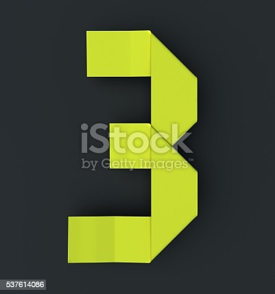 istock Origami paper font number Three, 3. 537614086
