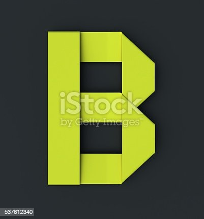 istock Origami paper font . Uppercase letter B 537612340