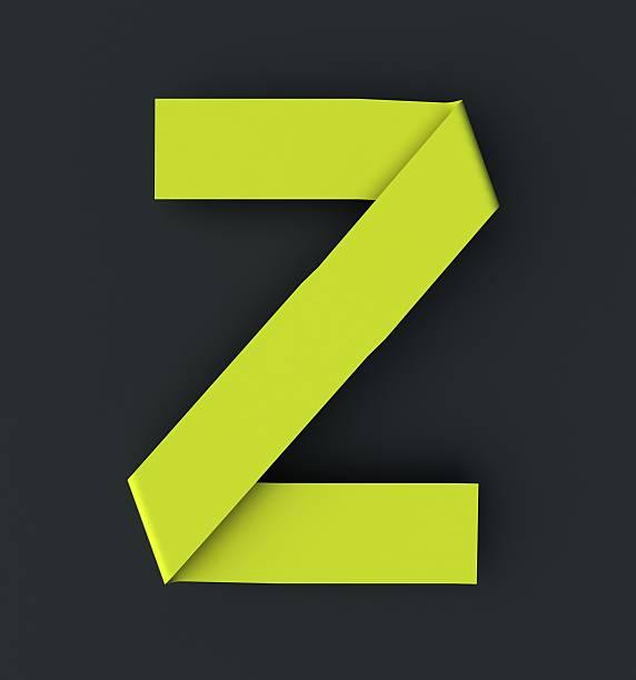 Origami paper font . Uppercase letter Z stock photo