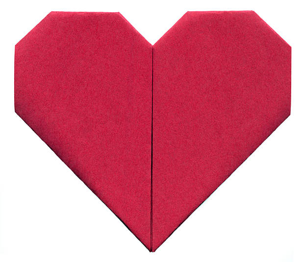 Origami Paper Heart (XXL, clipping path) stock photo