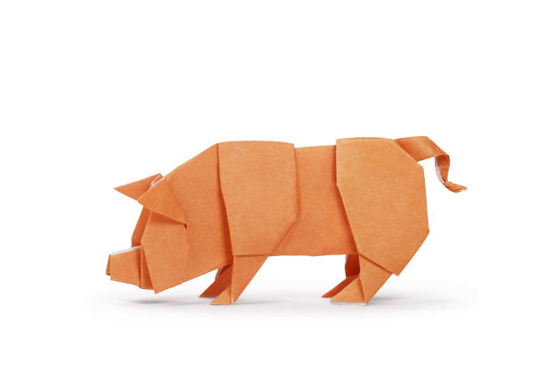 origami paper pig. year of the pig - cinghiale animale foto e immagini stock