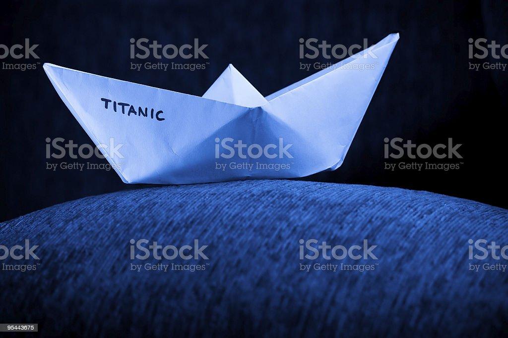 Origami Papier Schiff in Blau – Foto