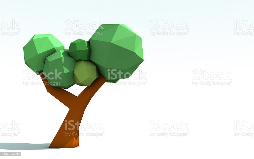 3D Origami Paper Tree stock photo