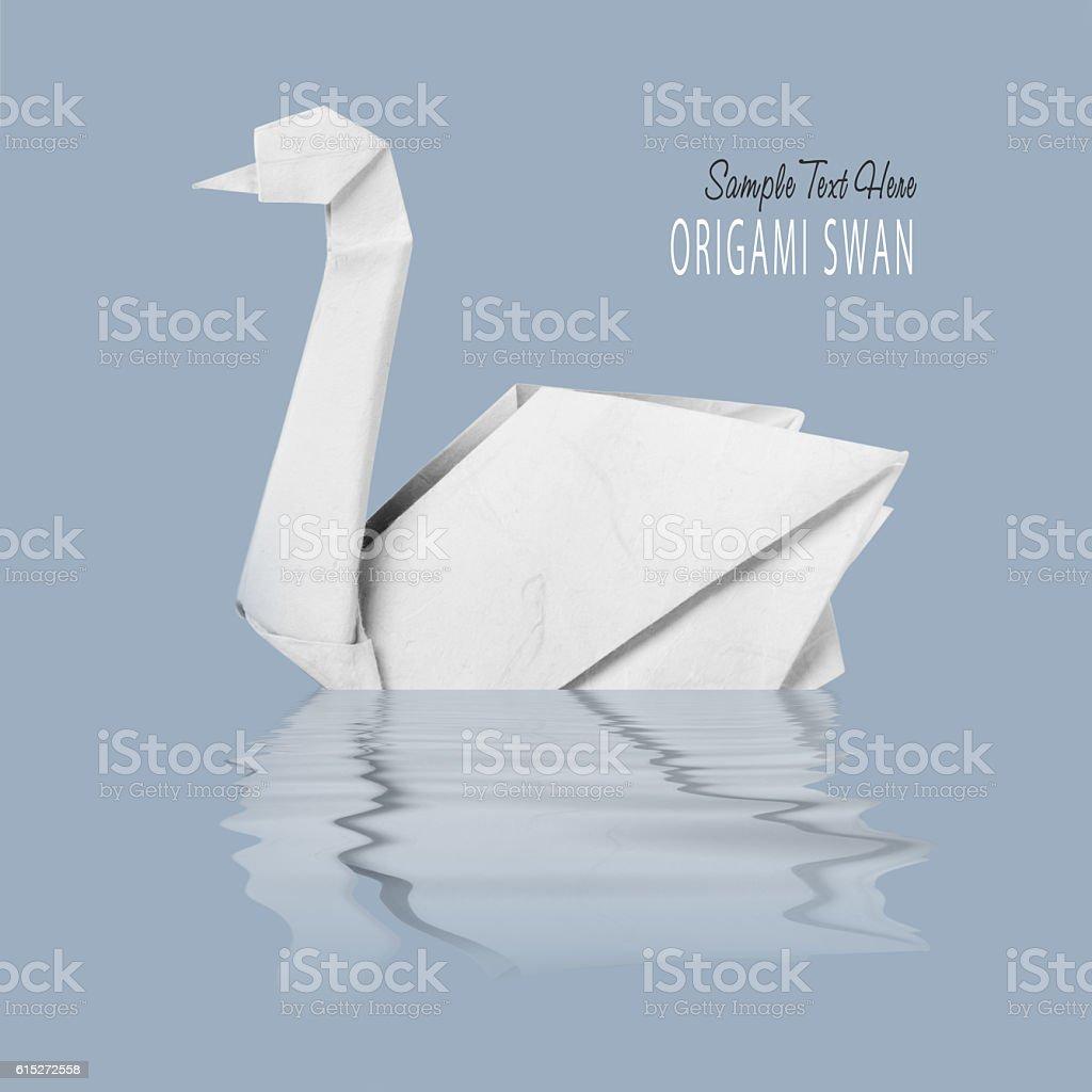 Origami paper white swan stock photo