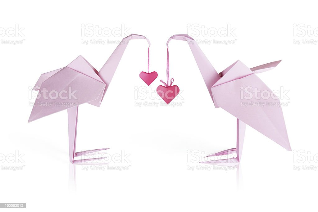 Origami pink paper flamingo couple royalty-free stock photo