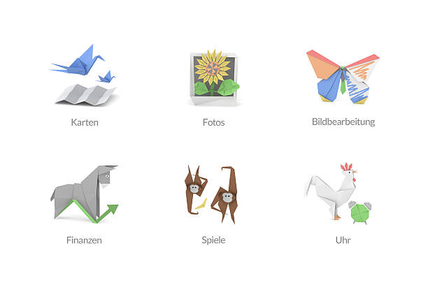 Origami Polygon Icons für Apps stock photo