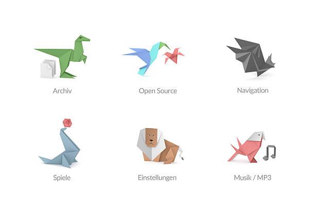 origami polygon-icons für apps - wasserfledermaus stock-fotos und bilder