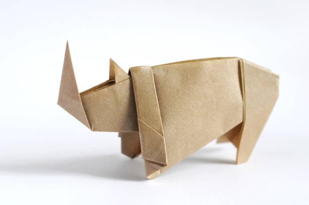 Origami Rhino stock photo