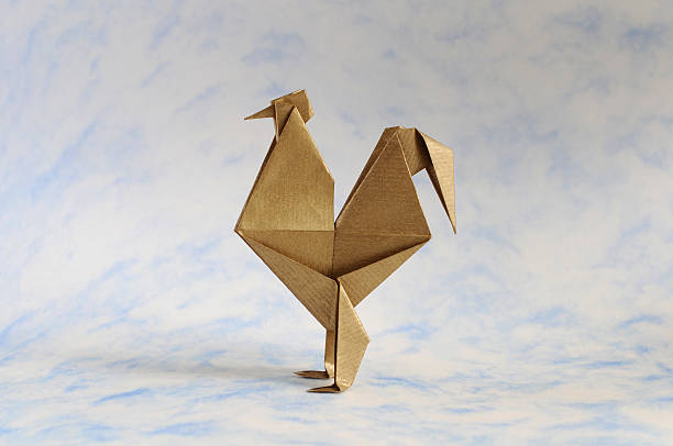 Origami Rooster stock photo