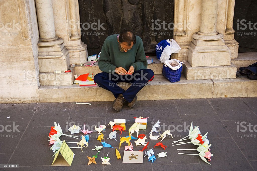 Origami Salesman stock photo