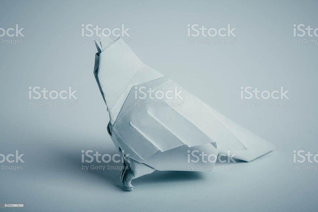 Origami sparrow bird stock photo