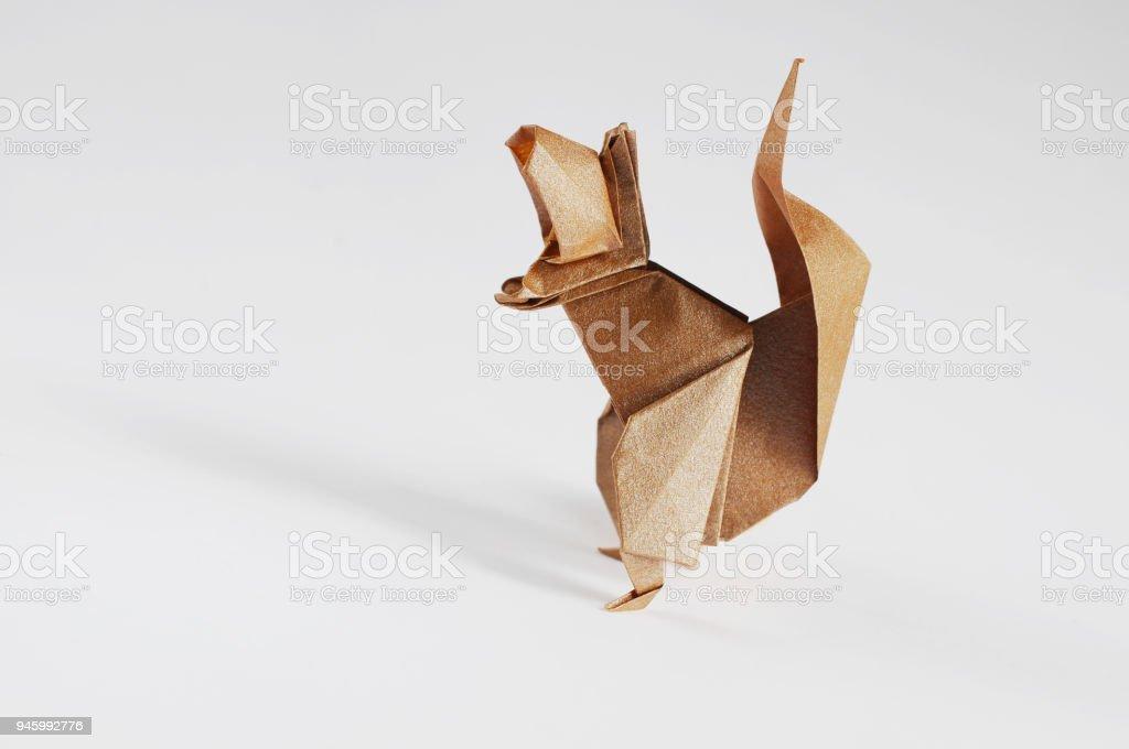 Origami Squirrel stock photo