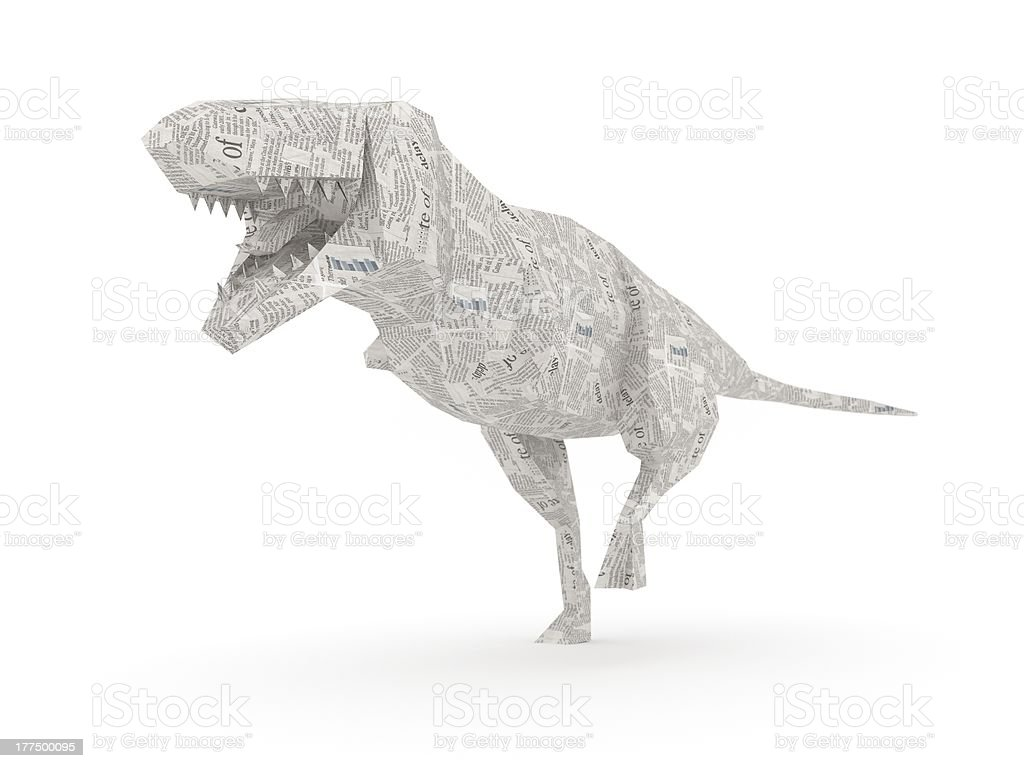 Origami T-Rex representing power of informations royalty-free stock photo