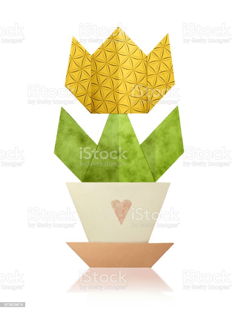 Origami tulip in a pot royalty-free stock photo