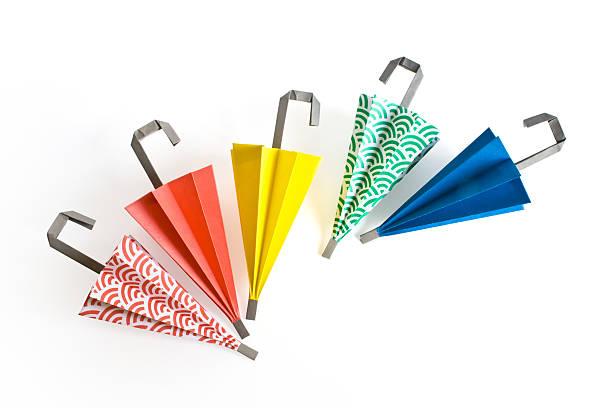 Origami umbrellas stock photo