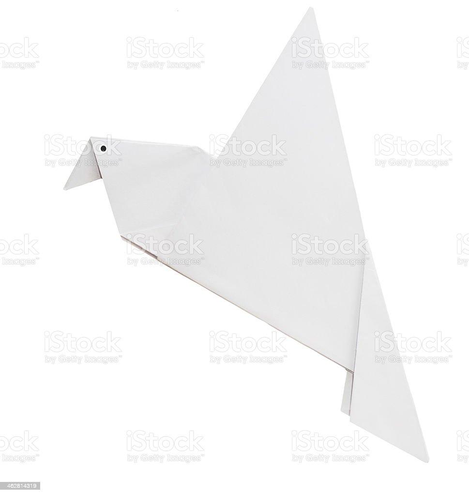 Origami white dove of peace isolated stock photo