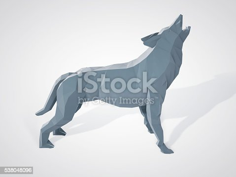 istock Origami wolf howling. Polygonal wolf side view. 538048096
