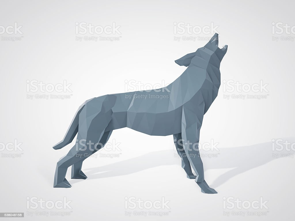 Origami Wolf Howling Polygonal Wolf Side View Stock Photo More