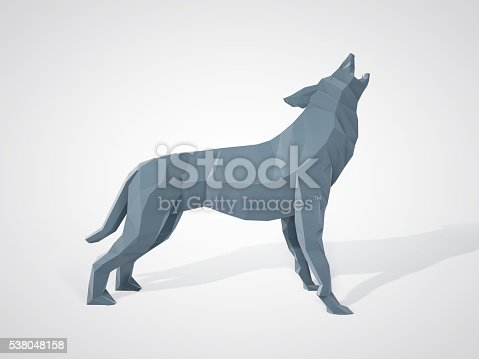 istock Origami wolf howling. Polygonal wolf side view. 538048158