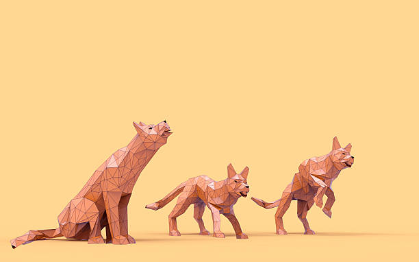 Origami Wolf Low Poly animals Concept stock photo