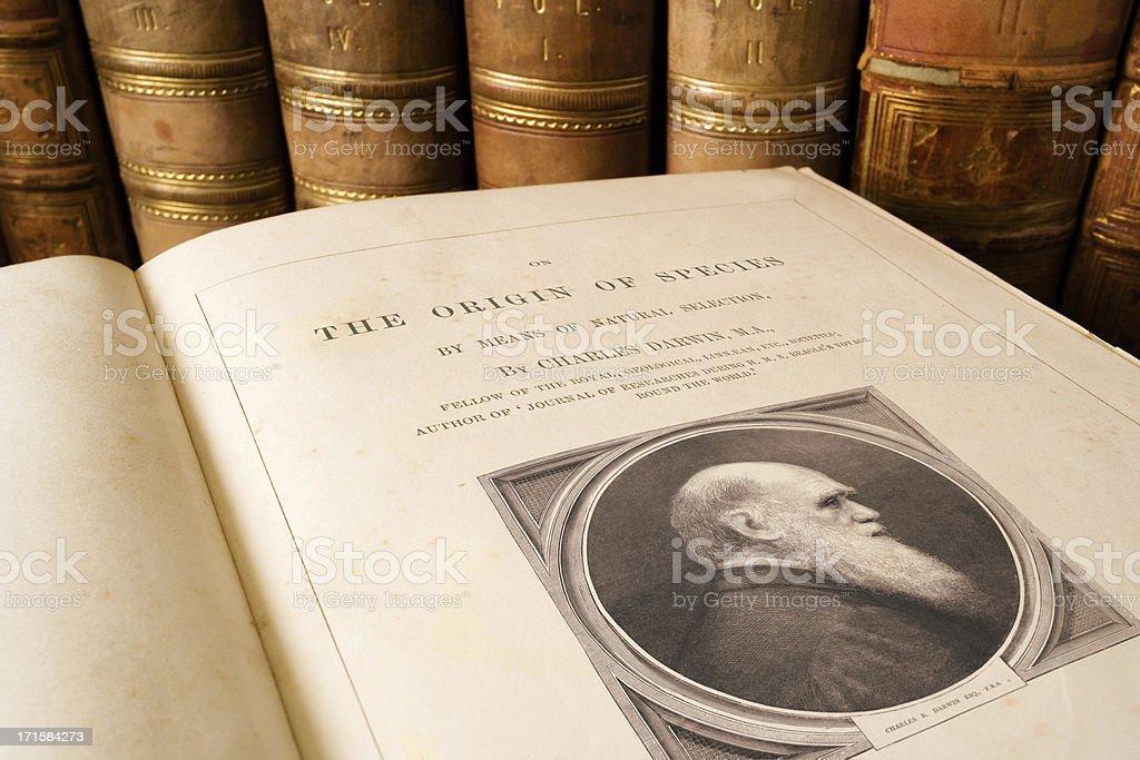 Origin of Species - Charles Darwin royalty-free stock photo