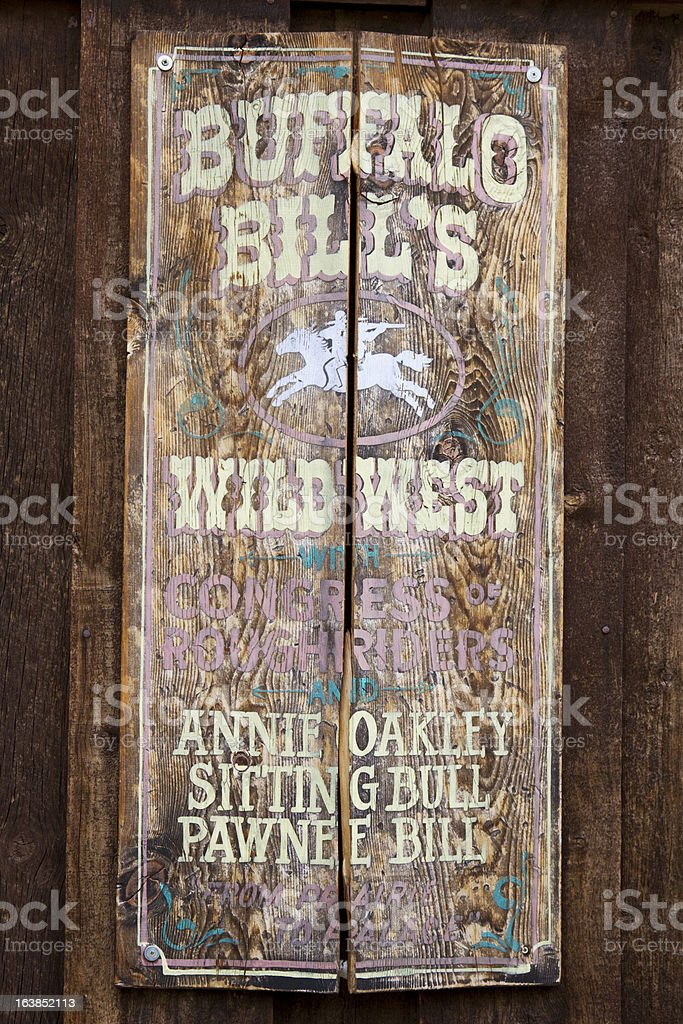 Original 1893 Buffalo Bill's Wild West Show Sign stock photo