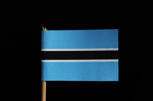 A original and official flag of Botswana on toothpick on black background. Flag consists from light blue field cut horizontally in the centre by a black stripe with a thin white frame stock photo