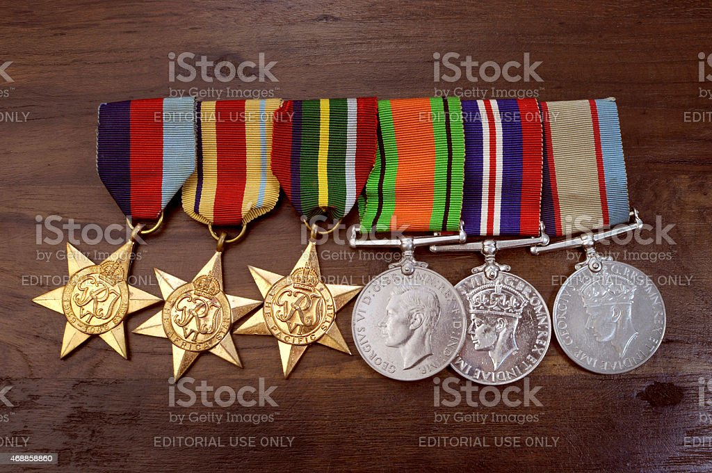 Original Australian Army World War II campaign medals stock photo