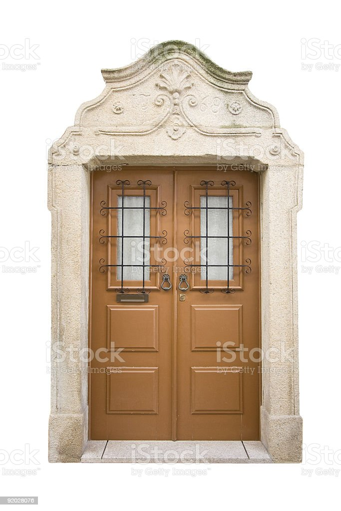 Original baroque door isolated on a white background royalty-free stock photo