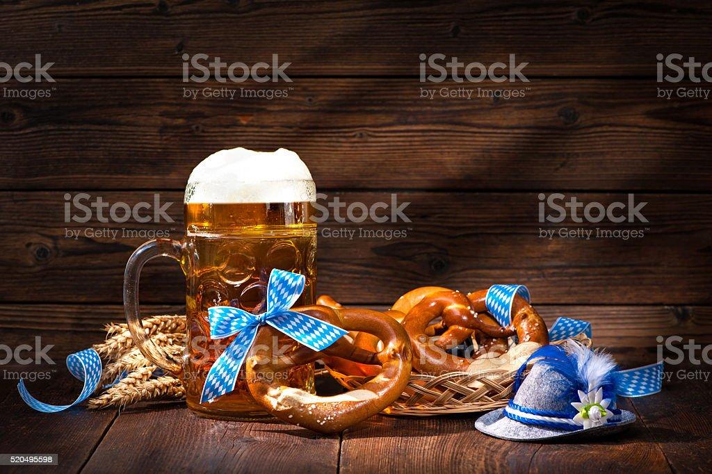 Original bavarian pretzels with beer stein stock photo