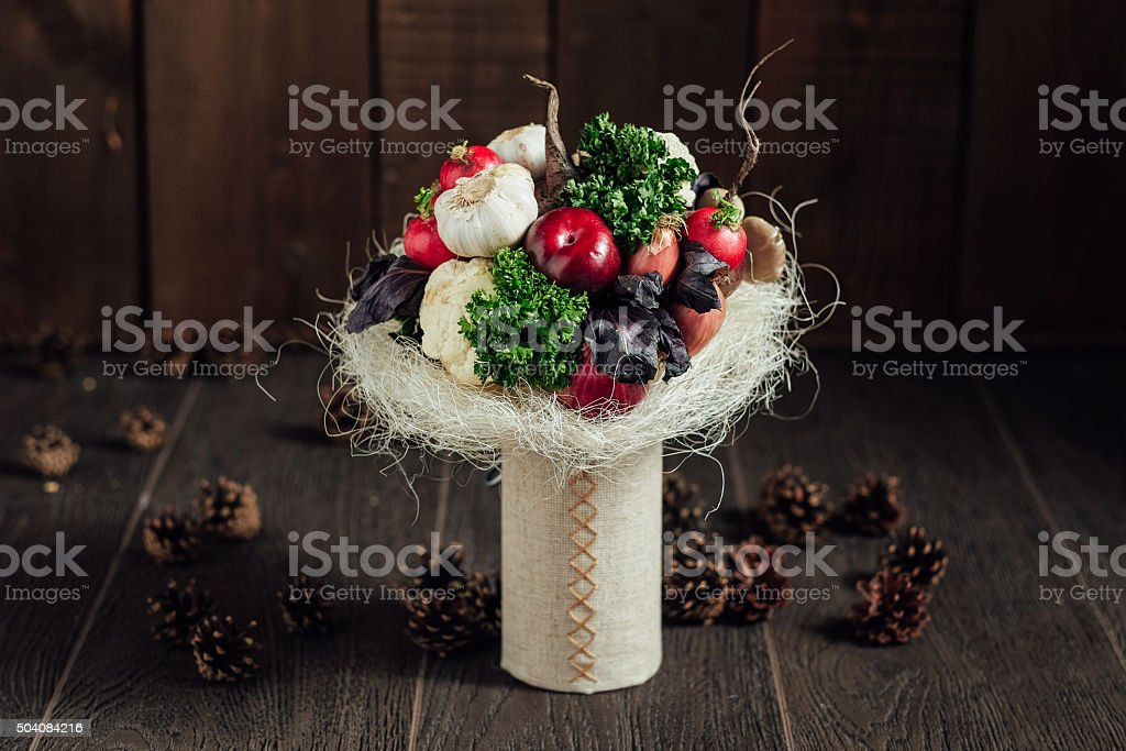original bouquet of vegetables and fruits stock photo