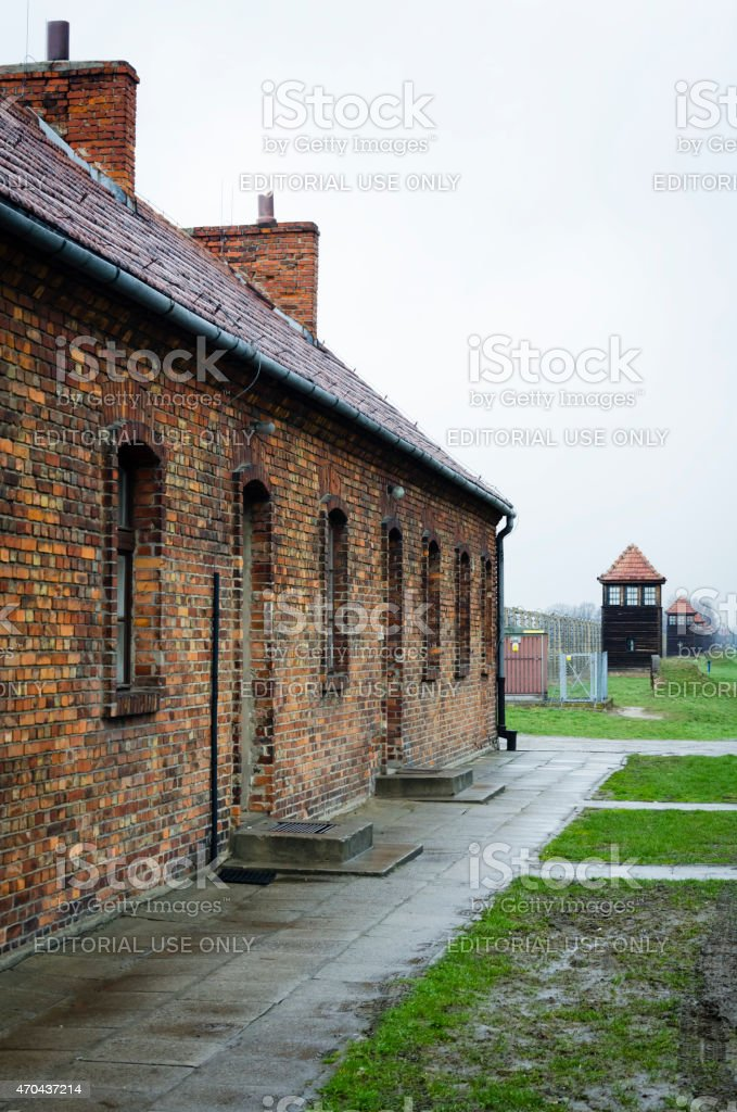 Original brick barracks at the Auschwitz in Poland stock photo