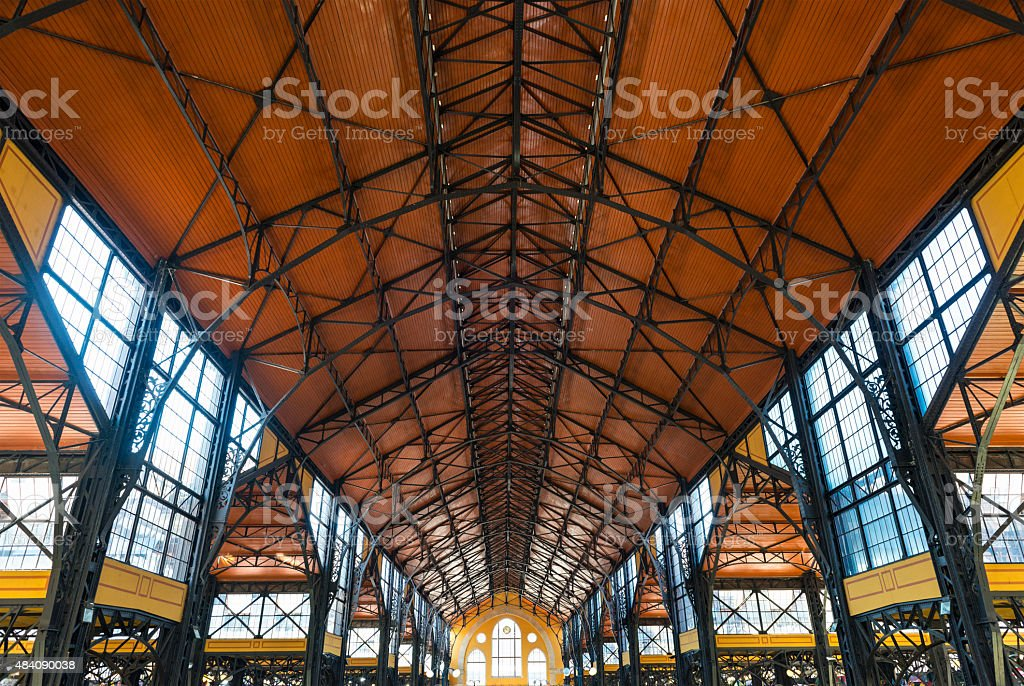 Original ceiling of the Great Market Hall in Budapest stock photo