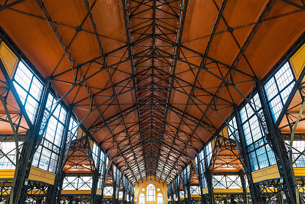 Original ceiling of the Great Market Hall in Budapest Wide-angle view of the ceiling of the public Great Market Hall in Budapest, Hungary. market hall stock pictures, royalty-free photos & images