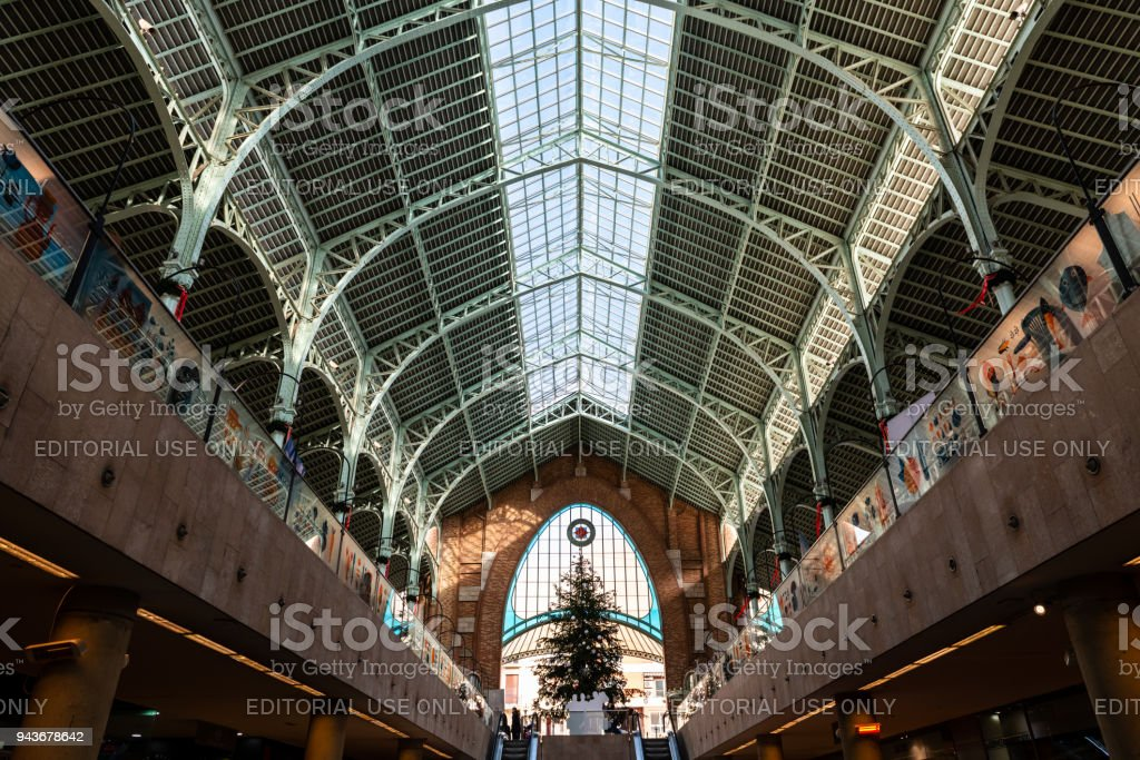 Original ceiling of the Market of Columbus in Valencia stock photo