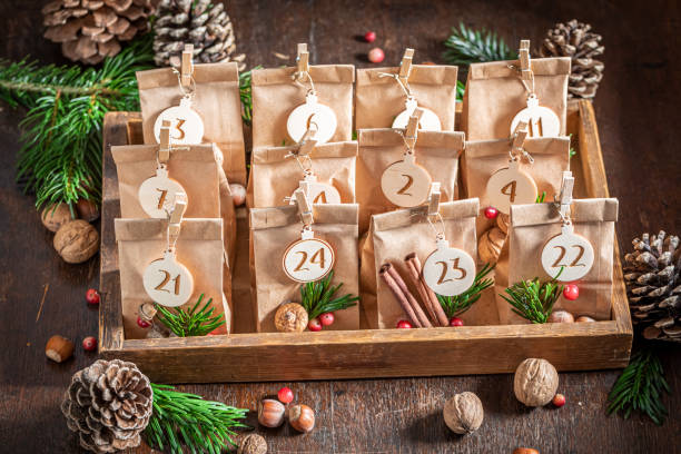 Original Christmas Advent Calendar made of paper bag and clip stock photo