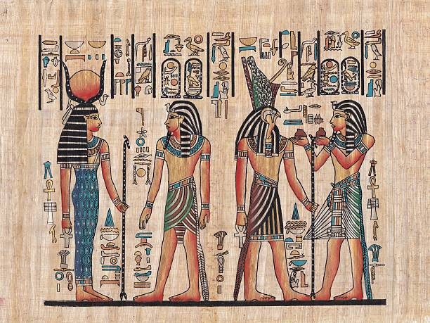 Original egyptian papyrus Scene from egyptian mythology painted on papyrus papyrus paper stock pictures, royalty-free photos & images