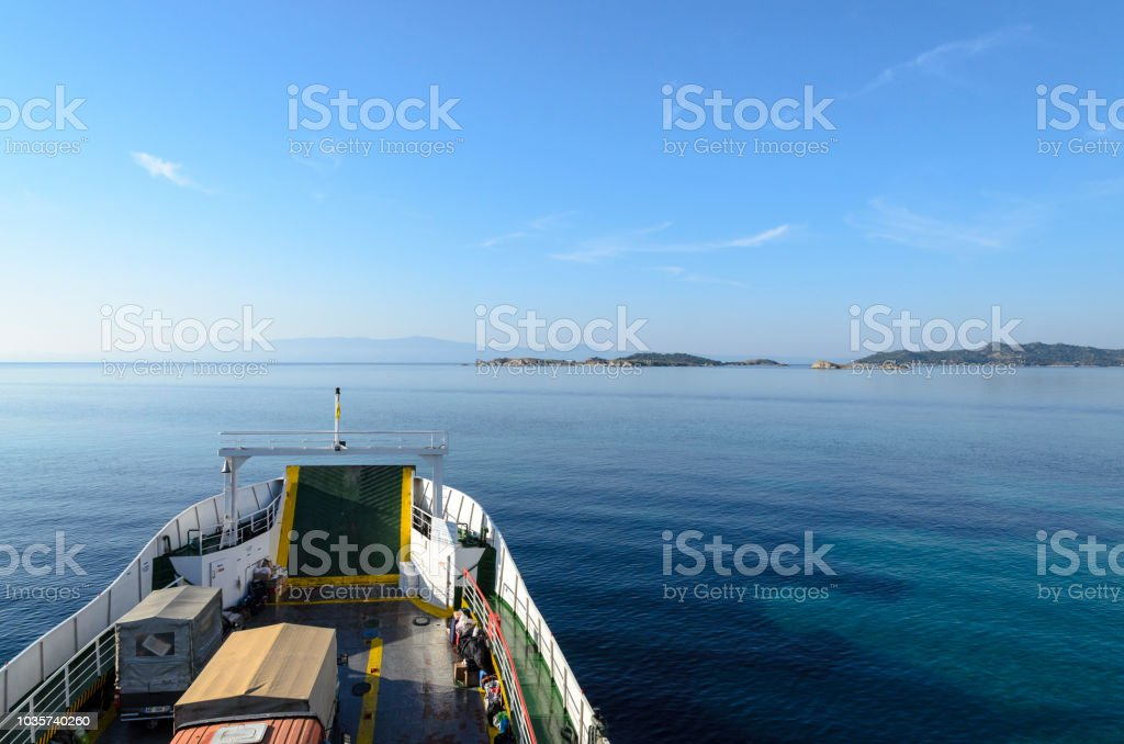 OURANOPOLIS, GREECE - OCTOBER 22, 2017: Original ferry in bay near Athos mount stock photo