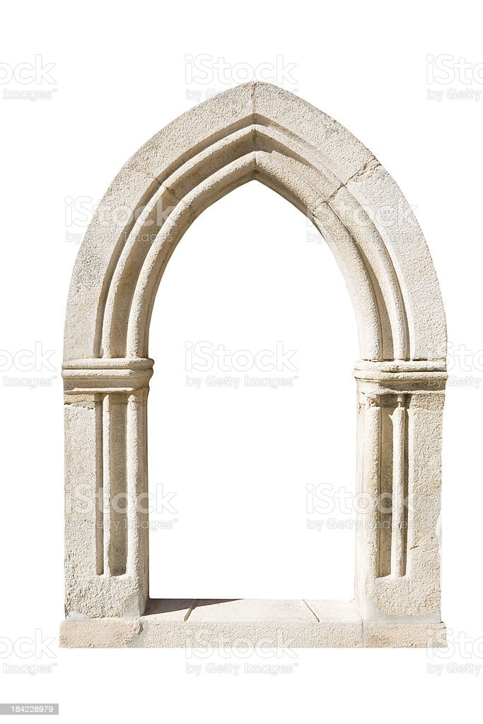 Original gothic door isolated on white background stock photo