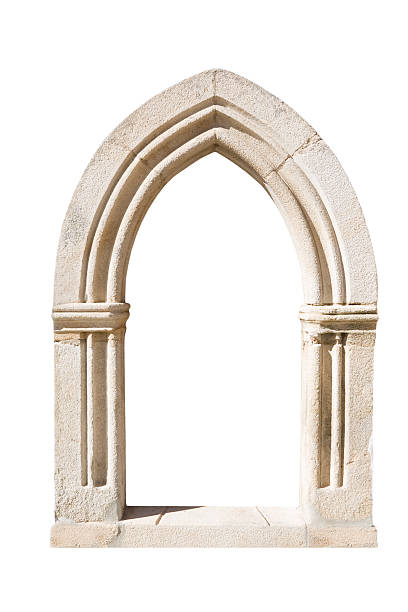 original gothic door isolated on white background - gothic style stock pictures, royalty-free photos & images